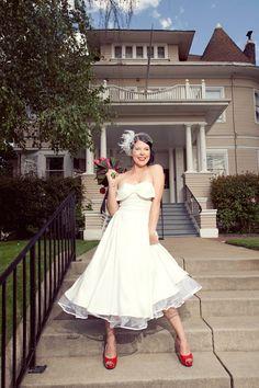 Whirling Turban Petal Bust Tea Length Wedding Dress