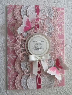 Made using Anna Griffin's Lace Trimmings dies and embossing folders.