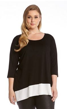 PLUS SIZE BLACK & WHITE MIX & MATCH CONTRAST HEM TUNIC Silky crepe trim enhances the sleek asymmetric cut of this Karen Kane tunic, offering a comfortable fit in soft stretchy jersey #Soft #Comfy #Black_and_White #Contrast #Color #Fall #Winter #Fashion