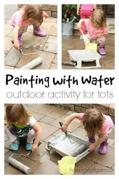 Educational Outdoor Fun for Kids-This simple outdoor activity will entertain kids all summer long! Painting with . Outdoor Activities For Toddlers, Games For Toddlers, Infant Activities, Summer Activities, Indoor Activities, Family Activities, Outdoor Fun For Kids, Outdoor Art, Preschool Outdoor Games