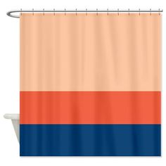 Custom Color Block Shower Curtain-Grey/Tangerine Tango/Hot Pink OR Choose Any Colors-Standard & Extra long sizes available