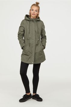 Long, padded parka in cotton twill with a drawstring hood and stand-up collar with a press-stud. Zip and button band with press-studs down the front, flap s Fall Outfits, Casual Outfits, Casual Clothes, Everyday Items, Khaki Green, Outfit Of The Day, Military Jacket, Fashion Online, Detective