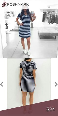 Tay, Navy & Grey Stripe Hoodie Dress Casual dresses are back in stock for this season and our Tay is one of our best sellers. It features a soft and stretchy material, lace-up neckline, hoodie and round hem. Material: 95% Rayon, 5% Spandex Firm price, no trades. Follow us on Instagram: @IzaApparel. Dresses