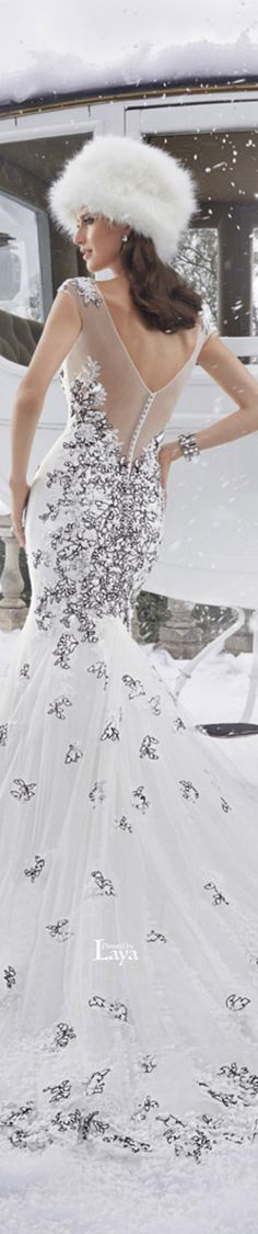 Sophia Tolli Fall 2015 Bridal. Love the dress...the hat? Not so much!