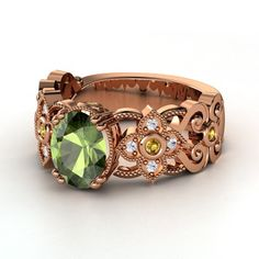 Oval Green Tourmaline 14K Rose Gold Ring with Citrine & White Sapphire