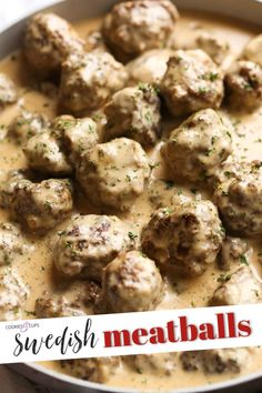 Easy Swedish Meatballs are the best weeknight dinner! Made with a thick, creamy gravy and served over egg noodles, they're totally irresistible. #meatballs #cookiesandcups #swedishmeatballs #easydinner #meatballswithgravy #homemadegravy #beefmeatballs #porkmeatballs