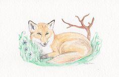 The Fox  Original Watercolor Painting  Woodland Scene by fleurzart, $18.00