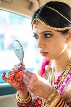 Mahesh Shantaram Bride Bridal Portrait Makeup Mirror Mehendi Jewelry Sari Saree Maang Tika Bangalore