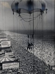 View of the Crowd from the Parachute ride Coney Island, 1959