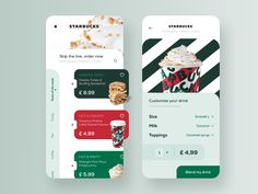Starbucks Order Mobile App designed by Polina Todorova for StanVision. Connect with them on Dribbble; the global community for designers and creative professionals. Ui Design Mobile, App Ui Design, Design Web, Interface Design, User Interface, How To Order Starbucks, Design Responsive, Responsive Web, Whatsapp Apk