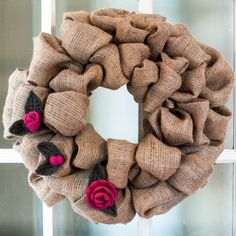 burlap wreath with felted crochet roses