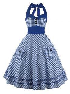 #yoshop.com - #yoshop A Line Pocket Halter Checkered Pocket Vintage Dress - AdoreWe.com