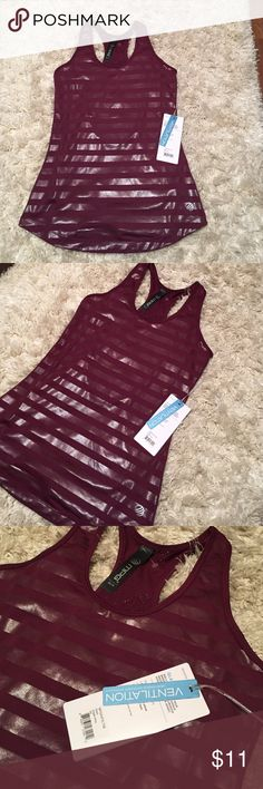 MPG Dri Fit Tank in Grape Wine XS NWT MPG Dri Fit Vented Tank in Grape Wine size XS. Striped look with shiny stripe design to the fabric. Running, yoga, beats class. You'll look amazing. MPG Tops Tank Tops