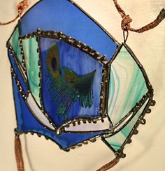 Cobalt Blue Teal Stained Glass Art Sun Catcher by StainsInPanes, $65.00