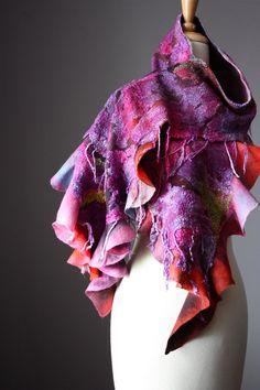 Nuno Felted scarf  Wool cotton fringe  handdyed by VitalTemptation, $145.00