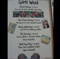 Themes - Student Council Advice - like the poster Homecoming Themes, High School Homecoming, Homecoming Spirit Week, Homecoming Dresses, Spirit Week Themes, Spirit Day Ideas, Spirit Weeks, Leadership Classes, Student Leadership