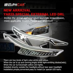94.20$  Buy here - http://aliwnh.worldwells.pw/go.php?t=32680668674 - Free Shipping IPHCAR Car Styling External White Universal Daytime Running Light with Amber Turn Light for Toyota 2014 Yaris 94.20$