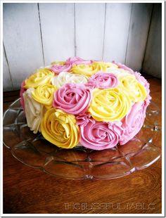 Wedding cake layer - purple & green instead of pink & yellow.