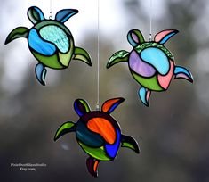 Stained Glass Sea Turtle Suncatcher Abstract Sea Turtle in