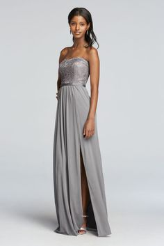 Picturing your bridal party in glamorous silver bridesmaid dresses? View David's Bridal collection of silver grey bridesmaid dresses in long & short styles. Silver Bridesmaid Dresses, Bridal Party Dresses, Trendy Dresses, Lace Dresses, Dress Lace, Gray Dress, Chiffon Dress, Strapless Dress Formal, Gowns