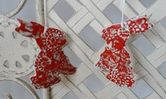 Ceramic Easter Bunny Decorations in Red - Handmade Pottery £10.00 #1200degreesceramics.com