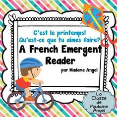 """This spring themed emergent reader, is part of a series of ongoing readers that I will be posting as a I create them for my class. This particular book focuses on the language structure """"J'aime ..."""" with the verb in the infinitive. The vocabulary features many of the activties students love to do in the spring including:  faire du vlo, faire voler un cerf-volant, faire des bulles, faire du patin  roulettes, sauter  la corde, jouer au football et jouer dans la pluie.  **Updated April 5, 2014…"""