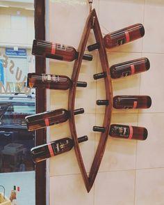 Portabottiglie artigianale in legno di rovere preso da botti di vino antiche