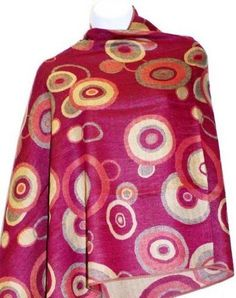 Pink Circle Pashmina Silk Shawl Teramasu. $39.95