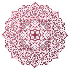 Red mandala outline Free Vector
