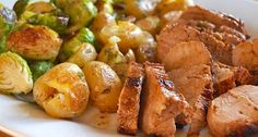 Pork Tenderloin w/ Pan Sauce and roasted brussels sprouts.    I love brussel sprouts!! Very simple....preheat oven to 400 degrees , toss the brussel sprouts with a little olive oil, salt and pepper. Roast for 12-15 minutes, toss halfway through...yum!!