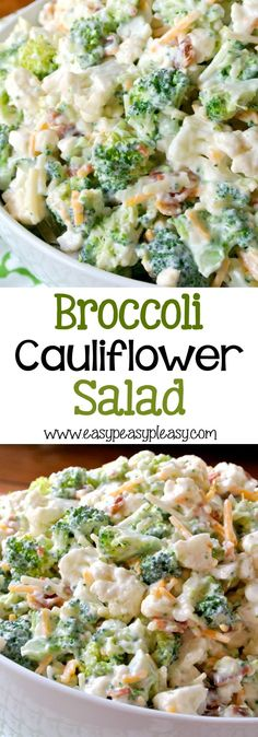 Try this deliciously sweet and easy Broccoli Cauliflower Salad. Perfect for a crowd or half the recipe for a family dinner. Broccoli Cauliflower Salad, Healthy Salads, Potato Salad