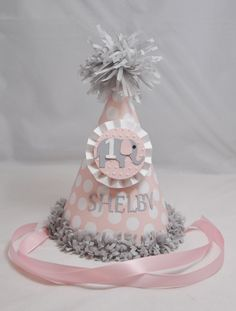 1st Birthday Elephant Party Hat Girl Pink by CardsandMoorebyTerri, $13.00
