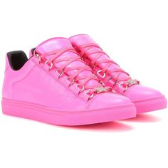 Balenciaga Arena Leather Sneakers ($540) ❤ liked on Polyvore featuring shoes, sneakers, pink, balenciaga, balenciaga trainers, pink sneakers, leather sneakers and pink leather shoes