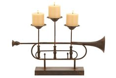 HOME DECOR – ILLUMINATION – CANDLE HOLDER – 22x14-inch Trumpet Candleholder. You don't need to be a musician to appreciate the unique and whimsical flair of this trumpet-inspired candleholder.