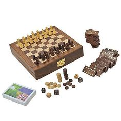 Wooden Board Game for Adults Three in One Chess Backgammon and Domino Playing Cards 8 Inches *** Click image for more details.