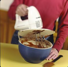 Use a paper plate to prevent the splatter when using your electric mixer this holiday season... or any season really