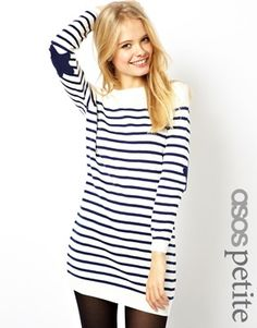 Image 1 of ASOS PETITE Striped Sweater Dress With Star Patch