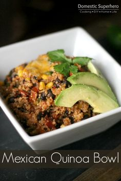 Mexican Quinoa Bowls with black beans and corn- yum!