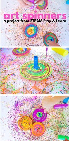 """Make spin art using DIY tops! Great STEAM project for preschoolers from the new book """"STEAM Play & Learn"""" by Ana Dziengel of Babble Dabble Do"""