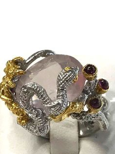 Snake Unique FineArt Jewelry Natural Rose Quartz  925 Sterling Silver Ring Sz 8