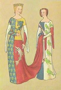Heraldic clothing page, mostly 14th Century. Here, Figure 19 (Jacquemin) Anne, Dauphine d'Auvergne, Comtesse du Foret