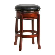 Boraam Hamilton Leather Swivel Backless Bar Stool