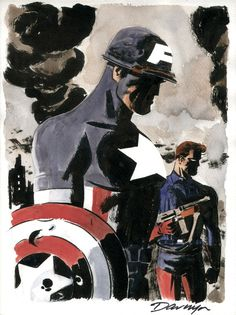 Captain America and Bucky - Darwyn Cooke Comic Art