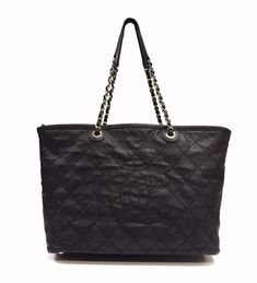 Chanel Black Quilted Grained Calfskin DAILY Shopping Tote 290096DM #Chanel #TotesShoppers