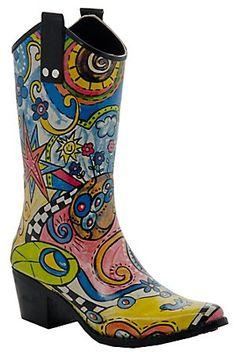 Beehive® Rain Bops™ Ladies Multi Colored Sidewinder Cowgirl Rain Boots