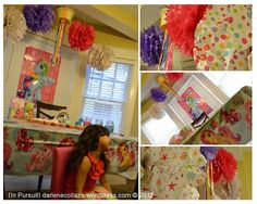 my daughters 5th bday. My Little Pony Birthday Party, love the pompoms