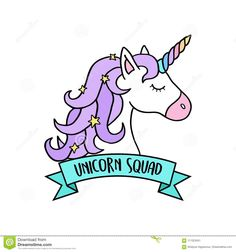 Illustration about Magical colorful unicorn head with ribbon and writing unicorn squad. Unicorn vector illustration, icon or sticker, isolated. Illustration of writing, color, squad - 111323451 Unicorn Painting, Unicorn Drawing, Cartoon Unicorn, Unicorn Head, Unicorn Shirt, Rainbow Unicorn, Cute Easy Drawings, Mini Drawings, Unicornios Wallpaper