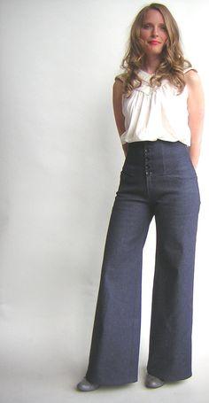 High Waist Jeans in Dark Denim. $175.00, via Etsy.
