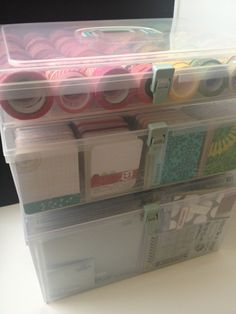 Using Close to My Heart sm, med, lg storage containers to organize Project Life and Washi. Not only is this a functional solution for home but makes going to creative retreats a breeze.