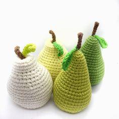 Crochet pear, amigurumi pear, amigurumi fruit